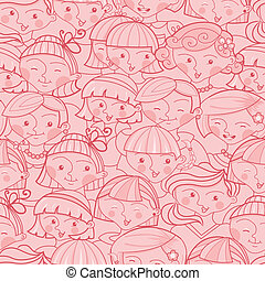 Girls in the crowd seamless pattern background - Vector...
