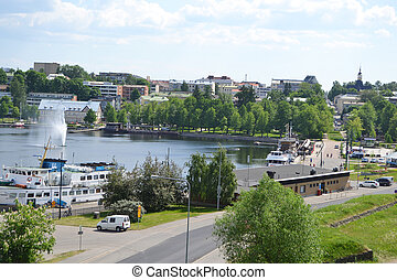 Lappeenranta, Finland - View of lake Saimaa and town of...
