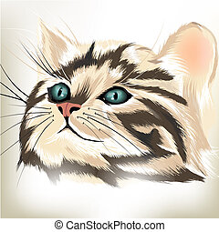Art vector portrait of cute striped cat with big blue eyes -...