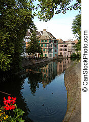 A view of the canals of Strasbourg - France