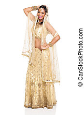 young indian woman posing in sari - cheerful young indian...