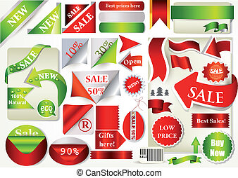 Collection of vector ribbons, banne - Vector set of vector...