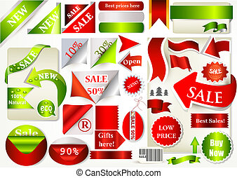Collection of vector ribbons, banners and stickers for sale...