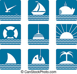 Nautical and Sea Icons Set - Marine icons collection Vector...