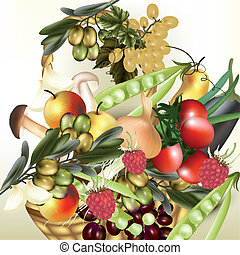 Vector food assorted fruit and veg - Mix of vegetables...