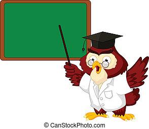 Owl teacher cartoon with board - vector illustration of Owl...