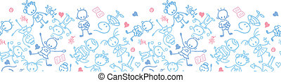 Playing children horizontal seamless pattern border - Vector...
