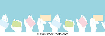 Hands holding business cards seamless pattern border -...