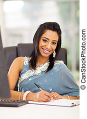 indian white collar worker in office - attractive indian...