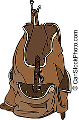 Brown Leather Backpack Vector - Isolated vector illustration...
