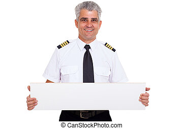 senior captain presenting blank white board - close up...