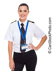 female airline co-pilot - beautiful young female airline...