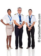 senior captain with airline crew