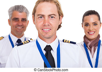 first officer with airline crew