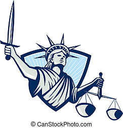 Statue of Liberty Holding Scales Justice Sword -...