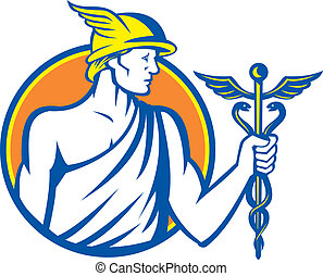 Mercury Holding Caduceus Staff - Illustration of Roman god...