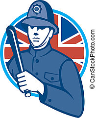 British Bobby Policeman Truncheon Flag - Illustration of a...