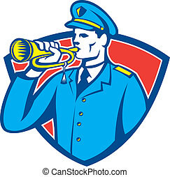 Soldier Blowing Bugle Crest - Illustration of a soldier...