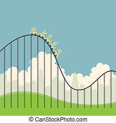 Currencies on Roller Coaster - Vector illustration of...