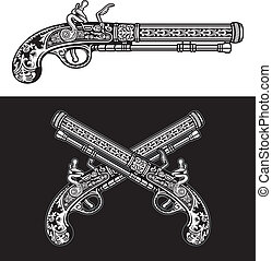 Flintlock Antique Pistol - editable vector illustration of...