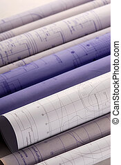 rolls of blueprints