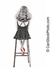 美麗, 芭蕾舞女演員, 剪, 拖鞋, 坐, 在上方, 粉紅色, 黑色, 肖像, 白色, 路徑