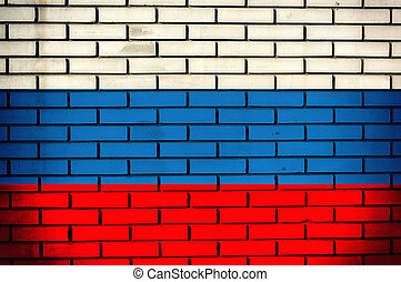 Russian flag on the old bricks