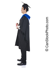 asian male graduate full length isolated with white...