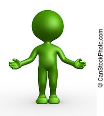 Welcome - 3d people - man, person with open arms / offering...