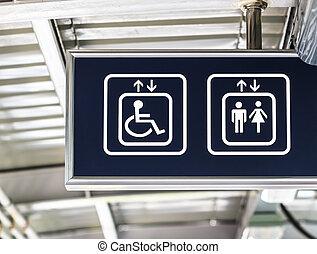 General and Handicap Accessible Elevator Sign, Closeup -...
