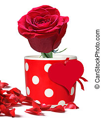 Red rose in polka dots mug - Red rose for Valentines Day,...