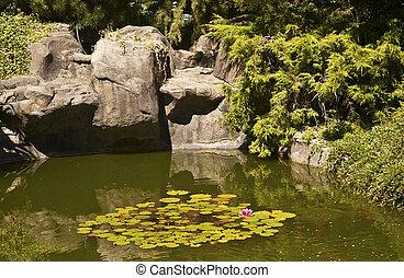 Elegant Pond - Natural stone pond as landscaping design...