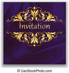 bright purple background with crumpled paper and gold elements