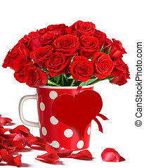Bouquet of red roses in polka dots mug - Bouquet of red...