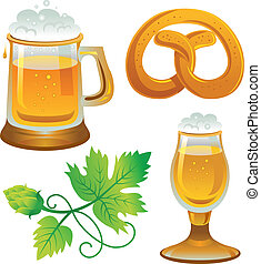 Beer set Collections for Oktoberfest Beer, hops and pretzel...
