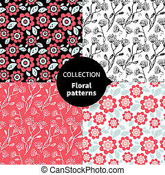Seamless vector floral pattern set