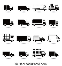 vector set of different truck icons - vector set of...