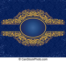 gold frame with ornaments on a blue