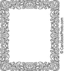 black and white frame 1 - black and white ornate frame,...