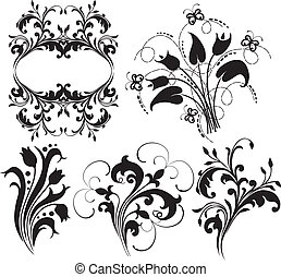 Set of floral elements for design.