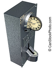 Time Is Money Vintage Coin Slot - A closeup of a metal coin...