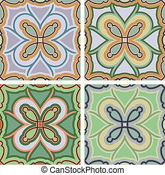 Tile - decorative tile four different color arrangements