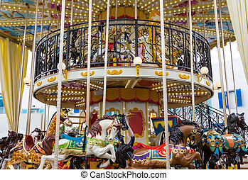 Wide view merry go round in carnival