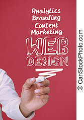 Businessman holding a marker and writing web design on red...
