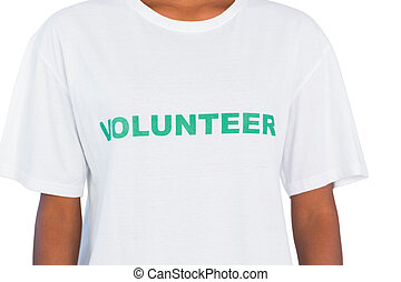 Woman wearing volunteer tshirt on white background