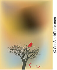 Red bloody bird on a tree on brown sunset