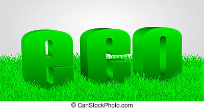word eco in a grass, 3d text, green grass