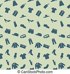 Seamless pattern with clothes, footwear and accessories....