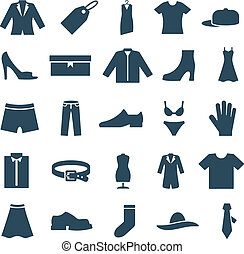 Icons clothes and accessories - Set vector icons clothes and...