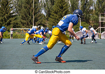 American football player, ready to start the game